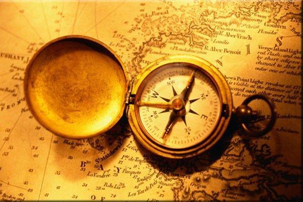 Tableau Original - Vieux Compas sur la Carte Rétro