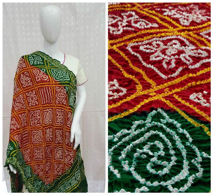 Get the modern yet traditional look with this Elegant Red & Green Bandhani Dupatta made with Traditional Bavan Baug Bandhani Pattern.  Showrooms- Vadodara,Anand,Ahmedabad.   www.sankalpbandhej.com  For more details call/whatsapp- 91-9377399299   #sankalpthebandhejshoppe #bandhanidupatta #bandhanikurti #dupattas #kurti #bandhanisarees #tiendye