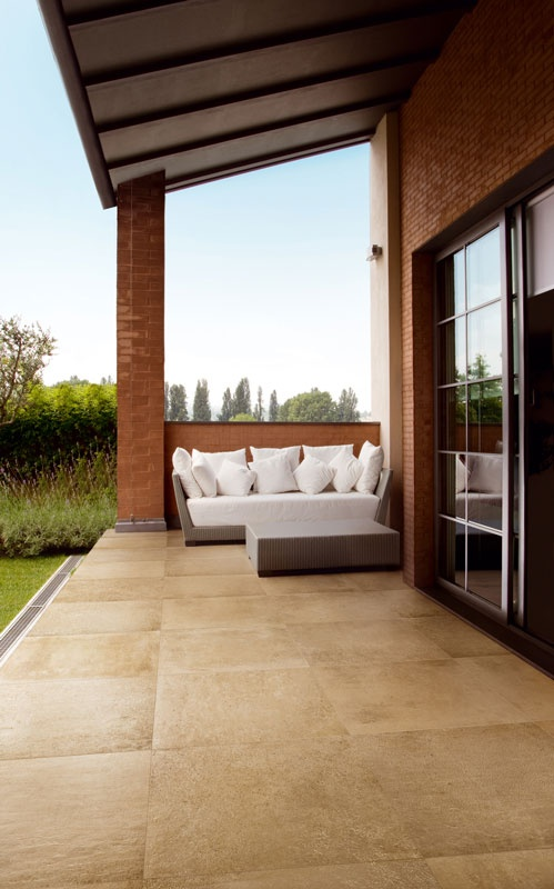 Love this outdoor tile foe the deck... outdoor sand porcelain tiles