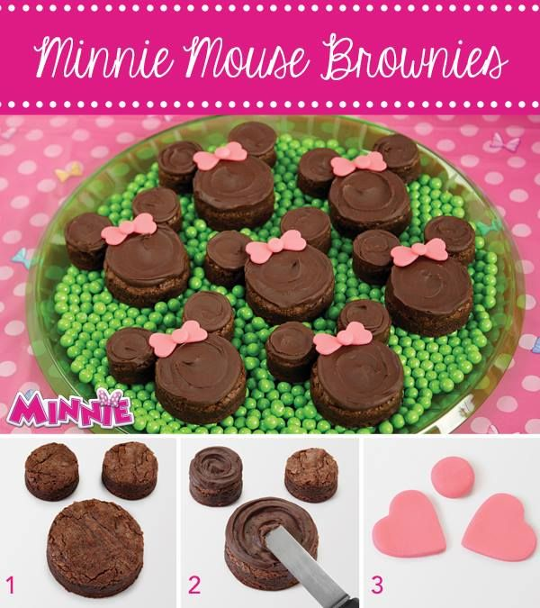 Minnie Mouse Brownies How-To from @partycity. Minnie Mouse never goes anywhere without her beautiful bow! It shows up big and bright on these easy-to-make brownies. Use Round and Heart Double Cut-Outs Sets to cut the brownie and bow shapes.