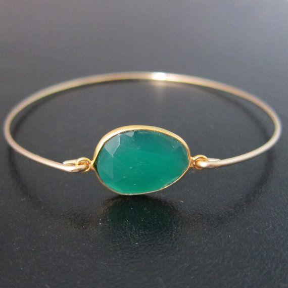 Green Onyx Bracelet Onyx Bangle Green Onyx by FrostedWillow