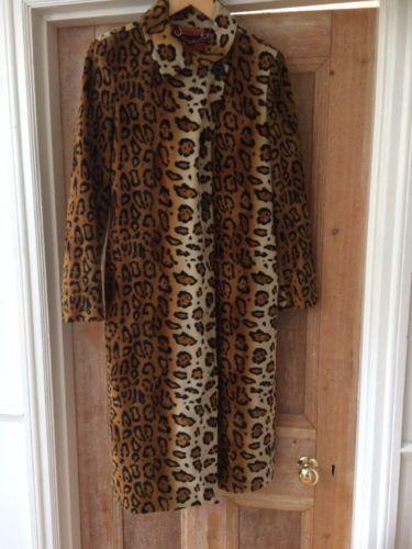 Miss-Sixty-imprime-leopard-rockabilly-pin-up-faux-fausse-fourrure-manteau-taille-s-10-12