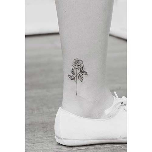 ayak bileği küçük gül dövmesi ankle small rose tattoo