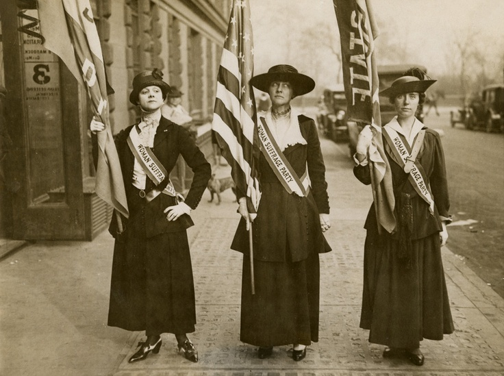 """June 4, 1919: The 19th Amendment is approved by Congress, guaranteeing suffrage to women. """"Wake Up America"""" demonstration, Mrs. Phillip Lydig, Mrs. John Blair, and Miss Charlotte Delgfield, photograph by Underwood & Underwood, April 19, 1917, NYHS Image #71461."""