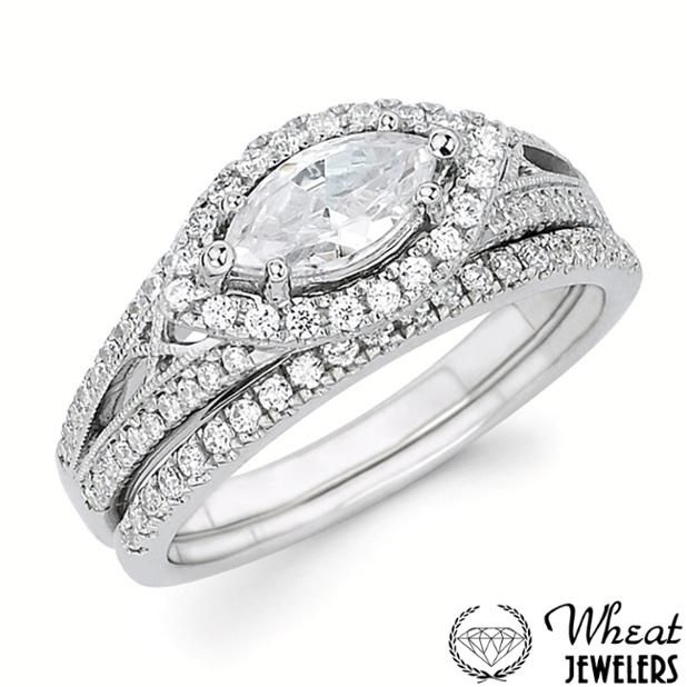 East West Bands: Vintage Inspired East-West Marquise Halo Engagement Ring