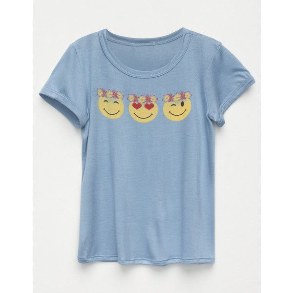 Full Tilt Snap Emoji Girls Tee ($18) ❤ liked on Polyvore featuring tops, t-shirts, rayon t shirts, blue tee, scoop neck t shirt, short sleeve tops and scoop neck tee
