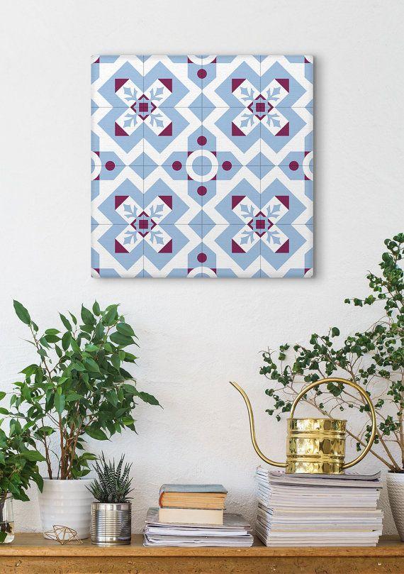 Blue And Purple Canvas Art Geometric Pattern Ceramic Tile