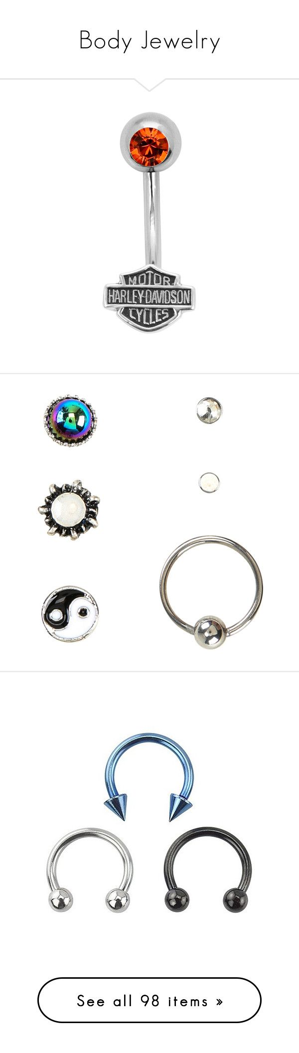"""""""Body Jewelry"""" by silvercookies ❤ liked on Polyvore featuring jewelry, belly rings, accessories, belly rings jewelry, belly button rings jewelry, harley davidson jewelry, orange jewelry, harley davidson jewellery, earrings and steel stud earrings"""