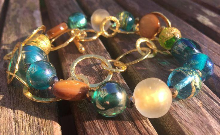 Gouden Aqua & Chain armbanden door EarthbeadsByYasmy