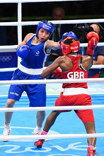 Great Britain's Nicola Adams in action against France's Sarah Ourahmoune during…