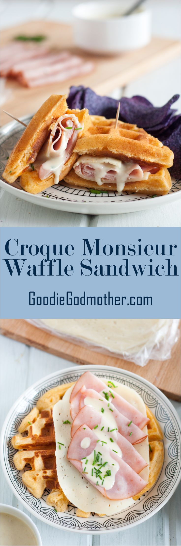 A Croque Monsieur Waffle Sandwich is a great alternative to traditional brunch dishes. It also makes a great lunch and a unique breakfast-for-dinner dinner idea! Get the easy recipe on GoodieGodmother.com