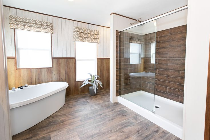 Mobile home master bathroom, gorgeous soaker tub