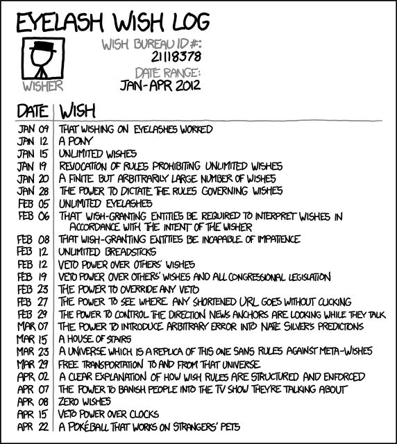 Ooh, another one. Uh ... the ability to alter any coefficients of friction at will during sporting events.: Xkcd S Eyelashes, Giggl Induce, Sports Events, Eyelashes Wish Logs Png, Posts, Xkcd Com, I'M, Eyelashwishlogpng 572640, Eyelashes Logs