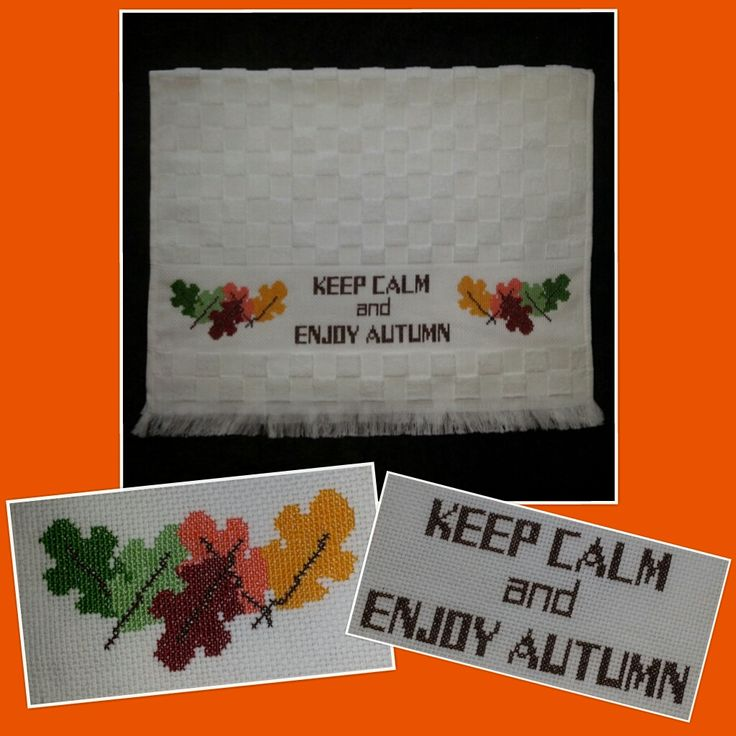 We're getting ready for autumn! Contact us and we'll help you get ready too!! :) - All cross stitch designs are customized as per customer request - jymcreations@gmail.com. #Handmade #Crossstitch #Handtowel #AutumnLeaves