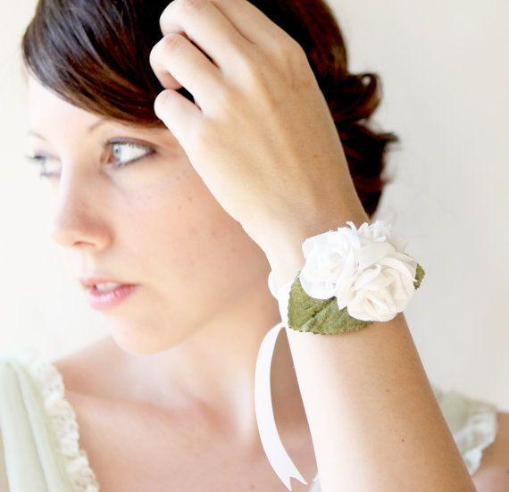 wrist corsage bridal accessory white rose wedding di ...