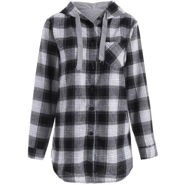 Button Up Pocket Plaid Plus Size Hoodie (93 RON) ❤ liked on Polyvore featuring tops, hoodies, hooded sweatshirt, women's plus size hooded sweatshirts, blue plaid hoodie, womens plus hoodies and sweatshirt hoodies