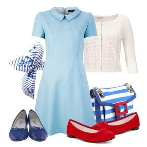 С чем носить красные балетки: голубое платье и белая кофта