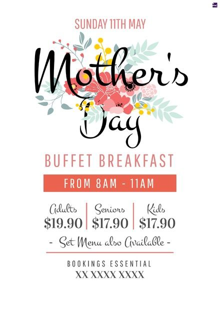 Beautiful Mother's Day promotional template. Edit or customise easily for print and digital marketing. Visit easil.com to get started!