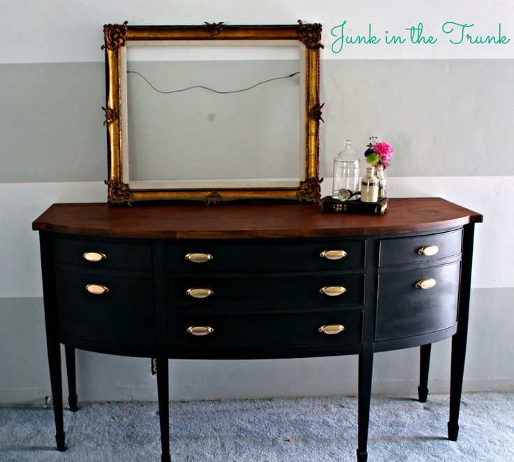 repainted buffet ~ annie sloan's graphite chalk paint with a clear wax top coat ~ top stain with minwax ~ love!  ~ furniture  refinish / repurposed