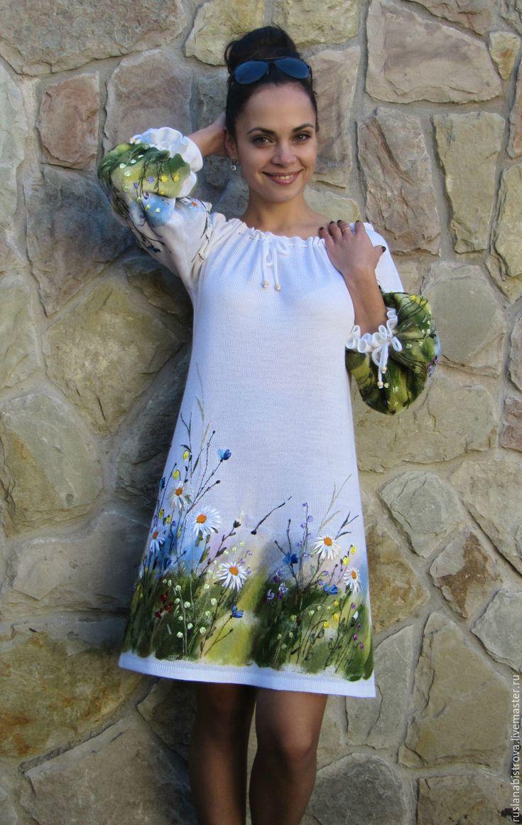 """Купить платье """" Лето звонкое громче пой ..."""" - белый, рисунок, Вышивка лентами"""