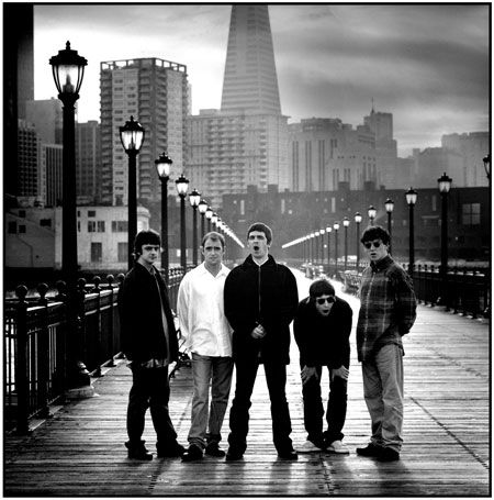 January 1995, San Francisco, USA: Oasis looking dishevelled, bored and British with San Francisco as a backdrop