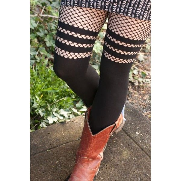 Opaque Faux Thigh High Tights with Striped Fishnet Accent ($9) ❤ liked on Polyvore featuring intimates, hosiery, tights, opaque stockings, thigh high stockings, sexy pantyhose, fishnet stockings and thigh high tights