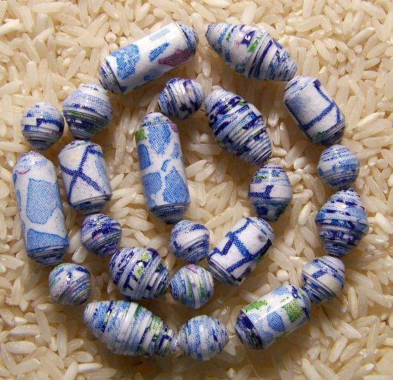 Paper Bead Blue Mosaic Set A and Set B