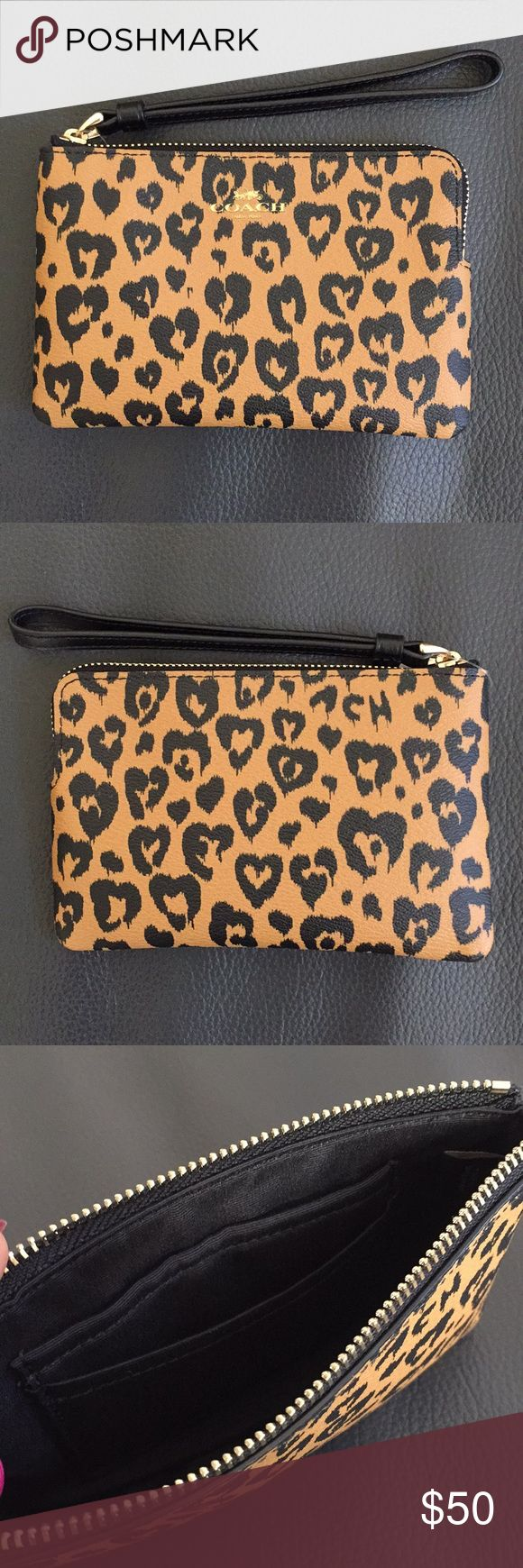 NEW Coach Wristlet - Heart Leopard Animal Print BRAND NEW Coach Wristlet - Heart Leopard Animal Print in black and brown with gold Coach logo on front. 2 card slots on inside. Coach Bags Clutches & Wristlets