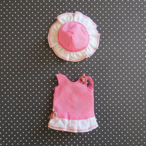 VTG-Barbie-TUTTI-Original-Pink-Playsuit-3550-Outfit-Dress-Hat-Clothes-1966