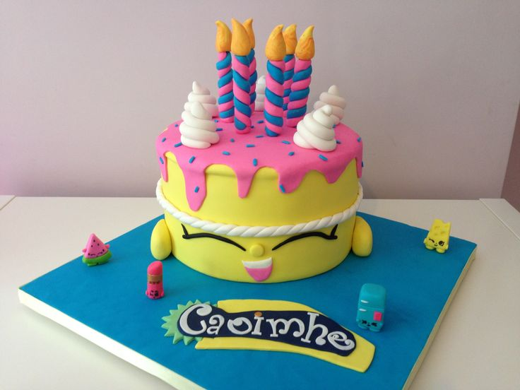 Caoimhe's 6th birthday cake. She chose Shopkins this year & I was delighted! All decorations including mini Shopkins were handmade from fondant. Chocolate biscuit cake.