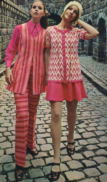 60s fashion pink striped pantsuit outfit vest pants shirt blouse minidress knit models magazine vintage fashion late era mod looks