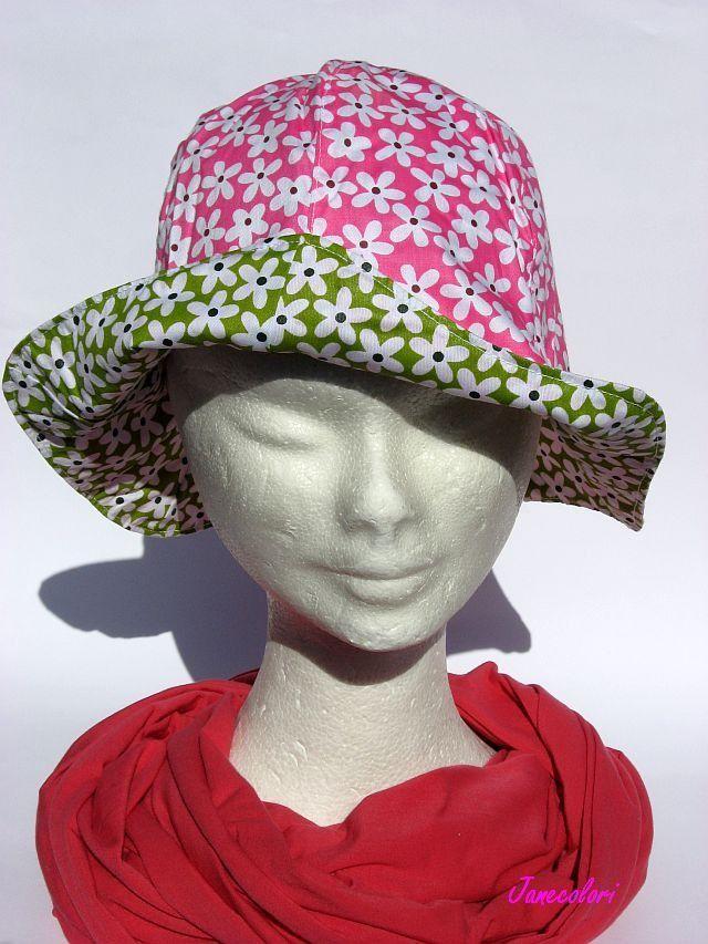 cappello estivo da sole, a campana, reversibile, pink/rosa e verde con fiori , sun hat green flowers, chapeaux soleil : Cappelli, berretti di janecolori-accessoires
