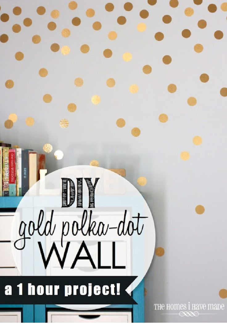 Polka dot walls- raining down effect, single color, single size. Good link for metallic shiny gold contact paper too.