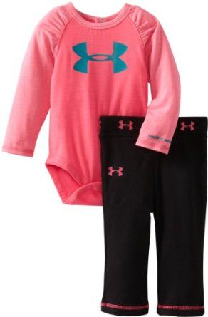 Amazon.com: Under Armour Baby-Girls Newborn Raglan Long Sleeve Bodysuit Set, Pink/Black, 6-9 Months: Clothing