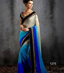 Buy BLUE and OFF WHITE printed georgette saree with blouse traditional-saree online