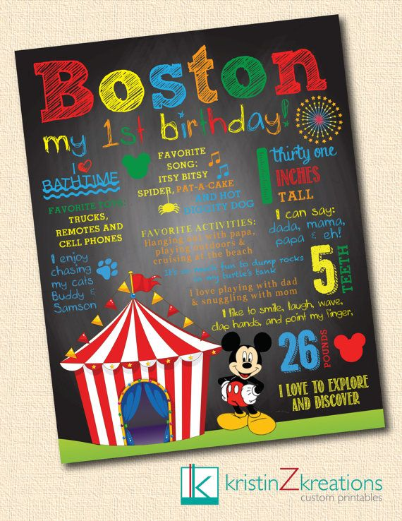 Custom Poster/Chalkboard Design (Mickey Mouse circus) - digital file YOU PICK SIZE