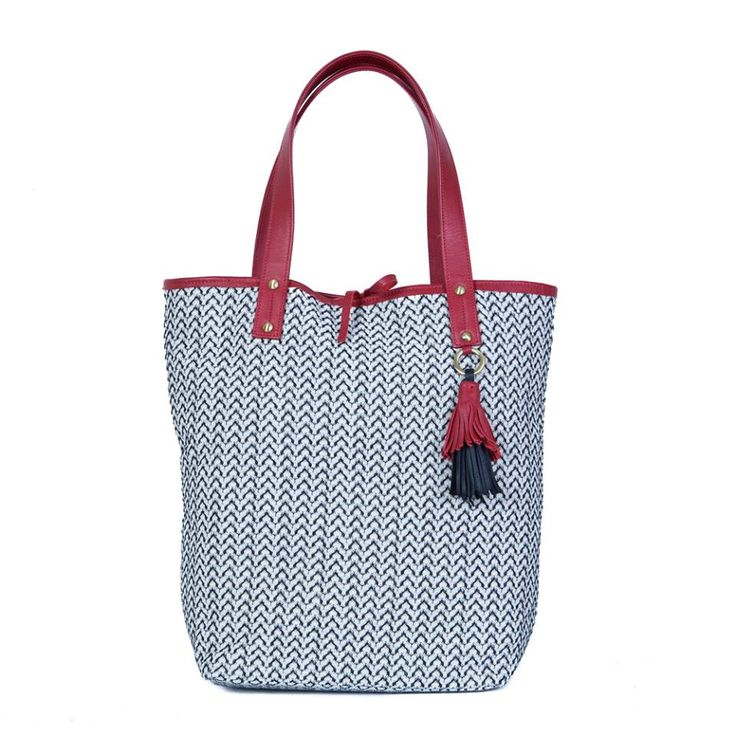 The Shopping Bag in Black & White with the Cherry Red and Black Tuft