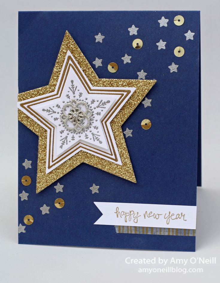 Amy O'Neill : Amy's Paper Crafts – New Year card - 1/11/15 (SU - Many Merry Stars stamps, Good Greetings stamps) (Pin+: Christmas: Stars/ Candles)