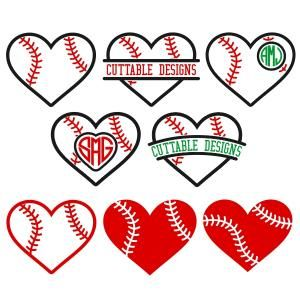 Baseball Heart Monogram Frames Cuttable Design Cut File. Vector, Clipart, Digital Scrapbooking Download, Available in JPEG, PDF, EPS, DXF and SVG. Works with Cricut, Design Space, Sure Cuts A Lot, Make the Cut!, Inkscape, CorelDraw, Adobe Illustrator, Silhouette Cameo, Brother ScanNCut and other compatible software.