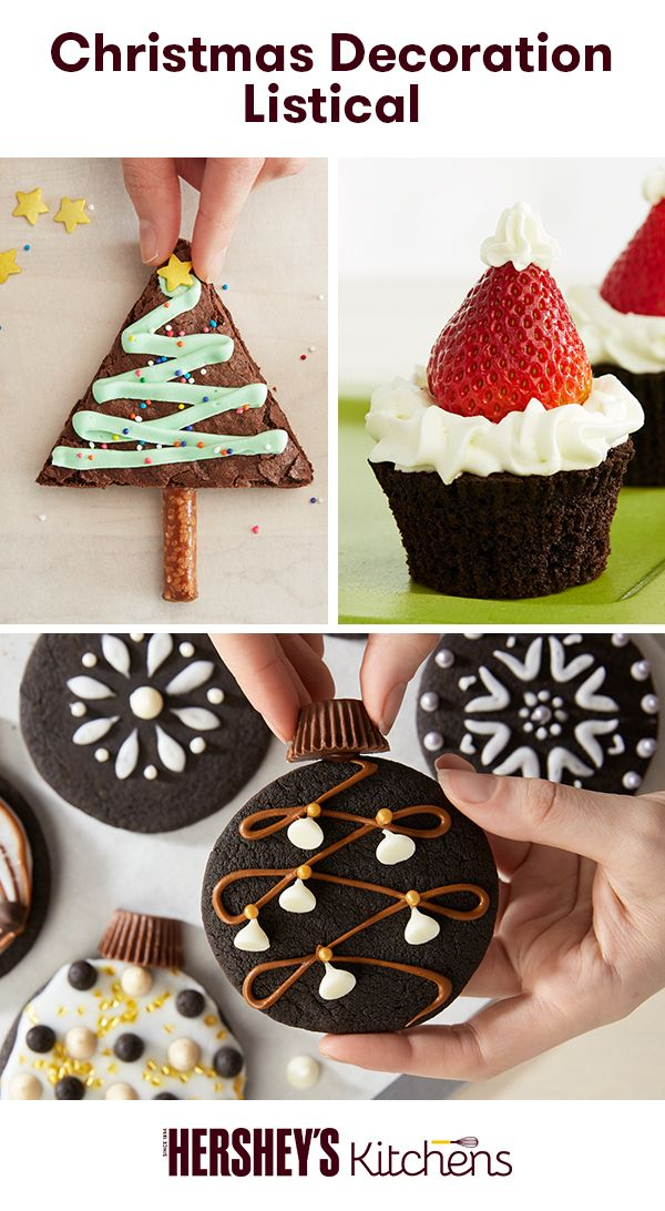 Update your Christmas goodies with festive dessert ideas! Any one of these recipes, crafted with HERSHEY'S Cocoa and HERSHEY'S Semi-Sweet Chocolate Chips, will light up your home at Christmastime. Gather the whole family for some holiday baking cheer.