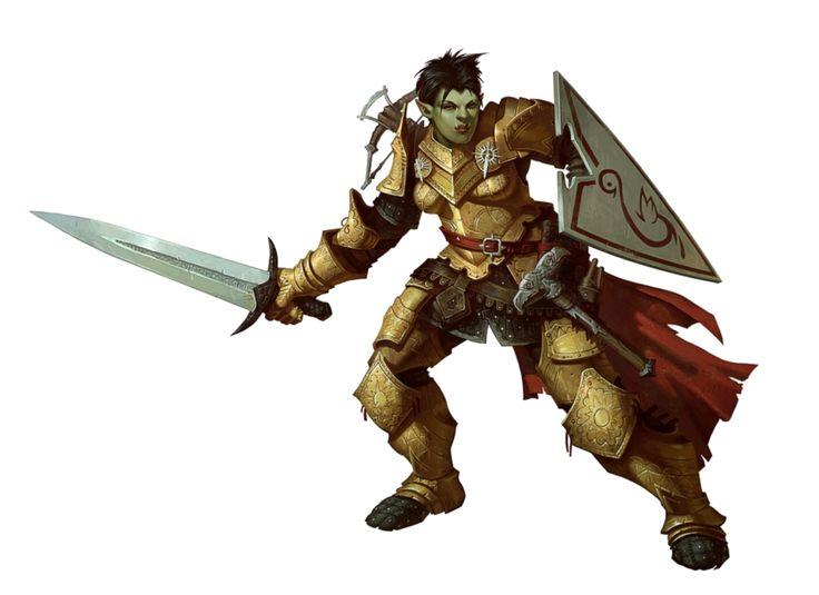 Female Half-Orc Paladin Fighter Knight
