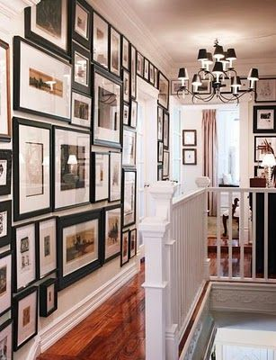 i love this but in a way it's too much to live with: Upstairs Hallways, Idea, Floors, Black Frames, Galleries Wall, Photo Wall, Photo Galleries, Pictures Frames, Pictures Wall