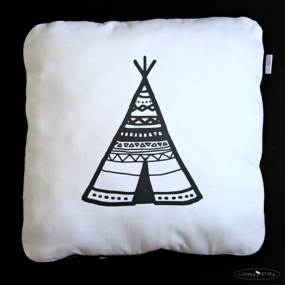 Teepee Pillow-Decorative Pillow-Children by LullabySTORY on Etsy
