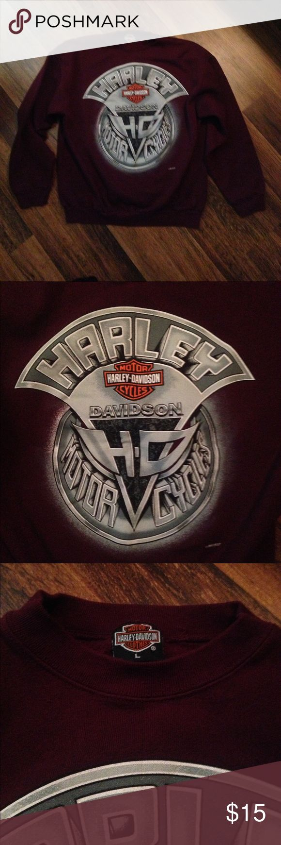 "Harley-Davidson Sweatshirt. Burgundy HD Sweatshirt. Worn. Soft. Will only get softer with wash, the way we like them. 22"" armpit to armpit. Approximately 26"" long. Harley-Davidson Tops Sweatshirts & Hoodies"