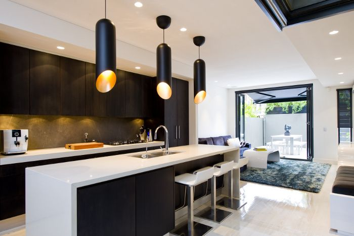 noiceAwesome House, Contemporary Kitchens, Kitchens Inspiration, Awesome Kitchens, Black White, Pendants Lights, Open Kitchens, Modern Kitchens, White Kitchens
