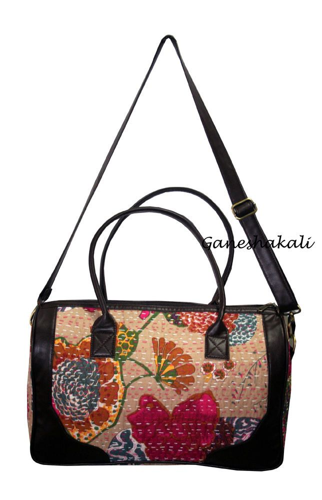 Cotton With Rexine Handbag In Kantha Indian Quilt Bag For Womens #Ganeshakali #BucketBagCrossbodyTote