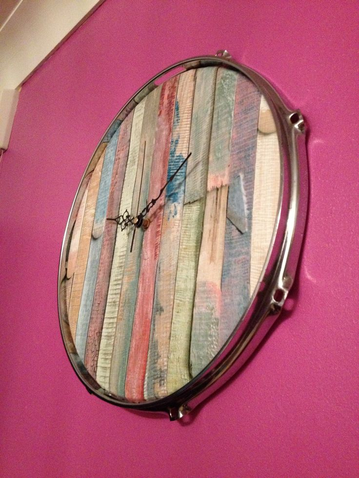 drum skin from a snare drum vinyl wrapped and upcycled into a funky clock can come in any. Black Bedroom Furniture Sets. Home Design Ideas