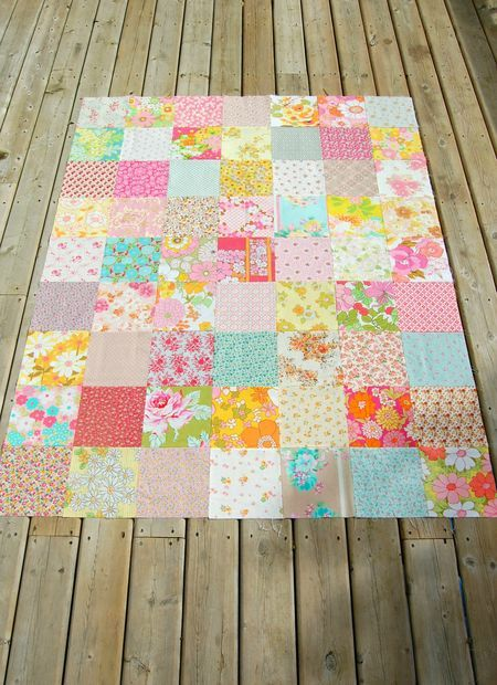 "Beautiful!  63 squares 8"" ea. - 7 x 9 - fin. 56"" x 72"" Rosehip"