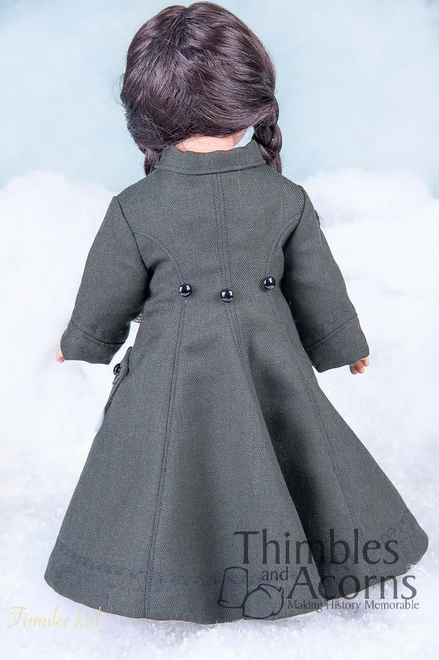 Thimbles & Acorns Long Winter Coat & Hood Doll Clothes Pattern 18 inch Dolls | Pixie Faire