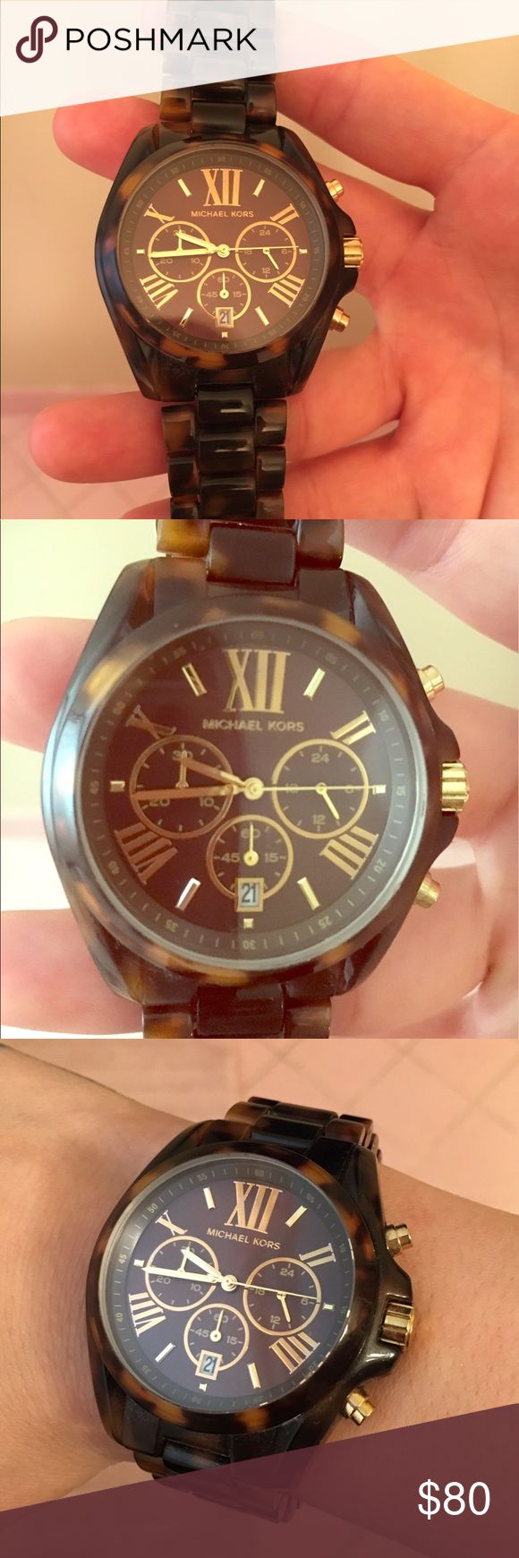100% Michael Kors tortoise shell watch I've only wore it once! Mint condition. Michael Kors Jewelry